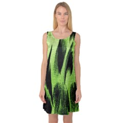 Green Tiger Background Fabric Animal Motifs Sleeveless Satin Nightdress