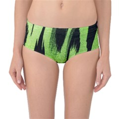 Green Tiger Background Fabric Animal Motifs Mid Waist Bikini Bottoms