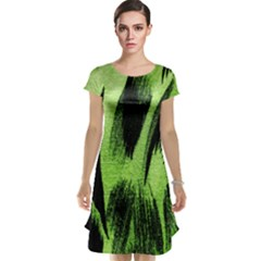 Green Tiger Background Fabric Animal Motifs Cap Sleeve Nightdress