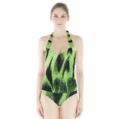 Green Tiger Background Fabric Animal Motifs Halter Swimsuit