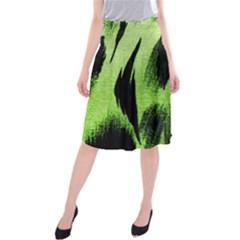 Green Tiger Background Fabric Animal Motifs Midi Beach Skirt