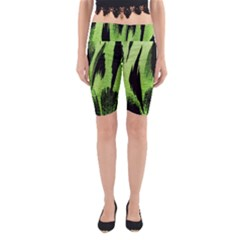 Green Tiger Background Fabric Animal Motifs Yoga Cropped Leggings