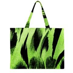 Green Tiger Background Fabric Animal Motifs Large Tote Bag