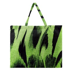 Green Tiger Background Fabric Animal Motifs Zipper Large Tote Bag