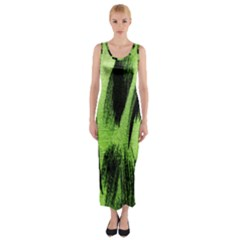 Green Tiger Background Fabric Animal Motifs Fitted Maxi Dress