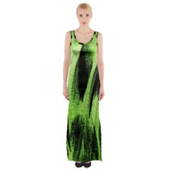 Green Tiger Background Fabric Animal Motifs Maxi Thigh Split Dress