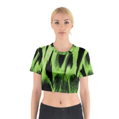Green Tiger Background Fabric Animal Motifs Cotton Crop Top