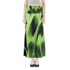 Green Tiger Background Fabric Animal Motifs Maxi Skirts