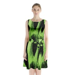 Green Tiger Background Fabric Animal Motifs Sleeveless Chiffon Waist Tie Dress