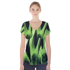 Green Tiger Background Fabric Animal Motifs Short Sleeve Front Detail Top