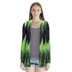 Green Tiger Background Fabric Animal Motifs Cardigans