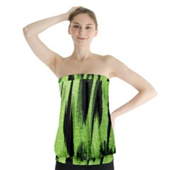 Green Tiger Background Fabric Animal Motifs Strapless Top