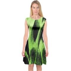 Green Tiger Background Fabric Animal Motifs Capsleeve Midi Dress