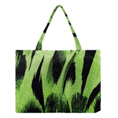 Green Tiger Background Fabric Animal Motifs Medium Tote Bag