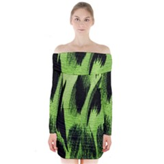 Green Tiger Background Fabric Animal Motifs Long Sleeve Off Shoulder Dress