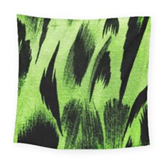 Green Tiger Background Fabric Animal Motifs Square Tapestry (large)