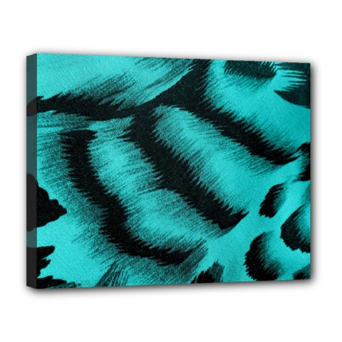 Blue Background Fabric Tiger  Animal Motifs Canvas 14  X 11