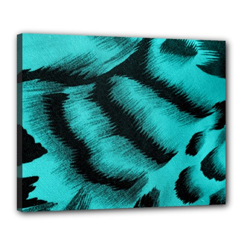 Blue Background Fabric tiger  Animal Motifs Canvas 20  x 16