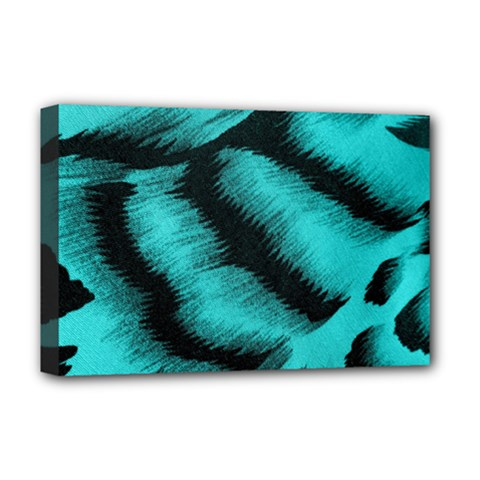 Blue Background Fabric Tiger  Animal Motifs Deluxe Canvas 18  X 12