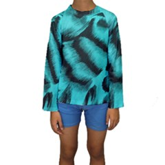Blue Background Fabric tiger  Animal Motifs Kids  Long Sleeve Swimwear