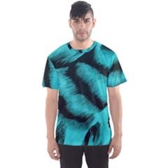 Blue Background Fabric Tiger  Animal Motifs Men s Sport Mesh Tee