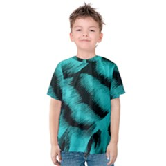 Blue Background Fabric Tiger  Animal Motifs Kids  Cotton Tee