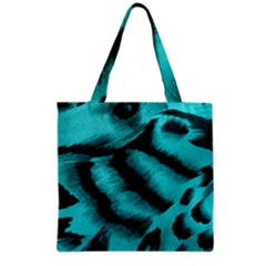 Blue Background Fabric Tiger  Animal Motifs Grocery Tote Bag