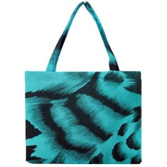 Blue Background Fabric tiger  Animal Motifs Mini Tote Bag