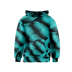 Blue Background Fabric Tiger  Animal Motifs Kids  Pullover Hoodie