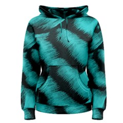 Blue Background Fabric tiger  Animal Motifs Women s Pullover Hoodie