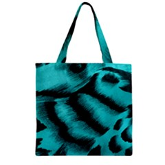 Blue Background Fabric Tiger  Animal Motifs Zipper Grocery Tote Bag