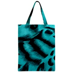 Blue Background Fabric Tiger  Animal Motifs Zipper Classic Tote Bag