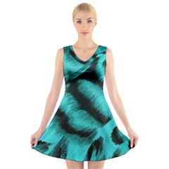 Blue Background Fabric Tiger  Animal Motifs V Neck Sleeveless Skater Dress