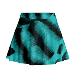 Blue Background Fabric tiger  Animal Motifs Mini Flare Skirt