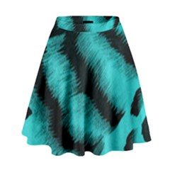 Blue Background Fabric Tiger  Animal Motifs High Waist Skirt