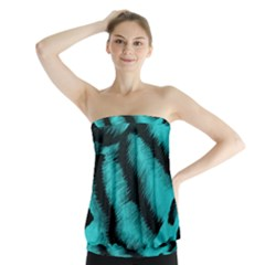 Blue Background Fabric tiger  Animal Motifs Strapless Top