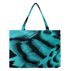 Blue Background Fabric tiger  Animal Motifs Medium Tote Bag