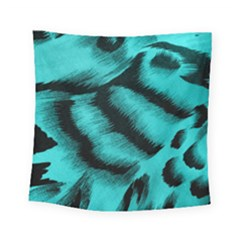 Blue Background Fabric Tiger  Animal Motifs Square Tapestry (small)