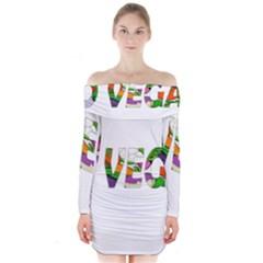 Go vegan Long Sleeve Off Shoulder Dress
