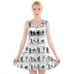 Old comic strip V-Neck Sleeveless Skater Dress