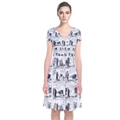 Old comic strip Short Sleeve Front Wrap Dress