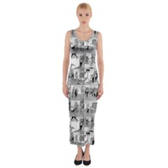 Old comic strip Fitted Maxi Dress