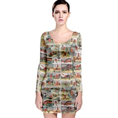 Old comic strip Long Sleeve Bodycon Dress