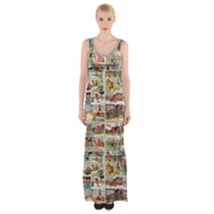 Old comic strip Maxi Thigh Split Dress
