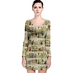 Old comic strip Long Sleeve Velvet Bodycon Dress