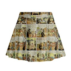 Old comic strip Mini Flare Skirt
