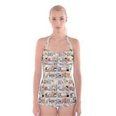 Old comic strip Boyleg Halter Swimsuit