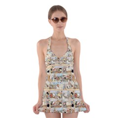 Old comic strip Halter Swimsuit Dress