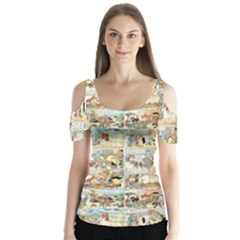 Old comic strip Butterfly Sleeve Cutout Tee