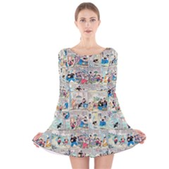 Old comic strip Long Sleeve Velvet Skater Dress